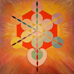 Metatrons Würfel in der Blume des Lebens (Acryl in Rahmen 105,4 x 105,4, © Günter Brus, 2014)