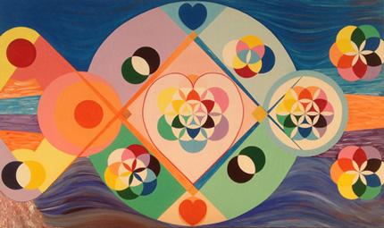 Nebeneinander Harmonie (Acryl 150 x 90, © Günter Brus, 2015)